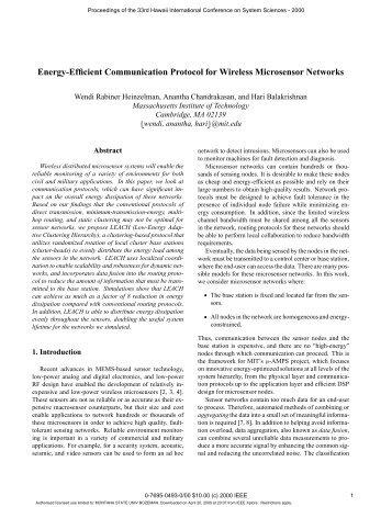 Energy-efficient communication protocol for wireless microsensor ...