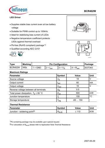 Datasheet (bcr402w)