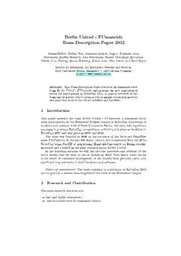 FUmanoids Team Description Paper 2012 - Freie Universität Berlin