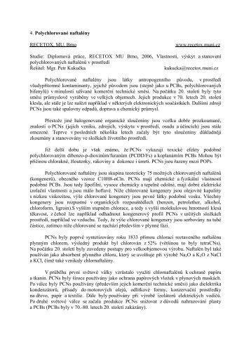 4. Polychlorované naftalény RECETOX, MU, Brno www.recetox ...