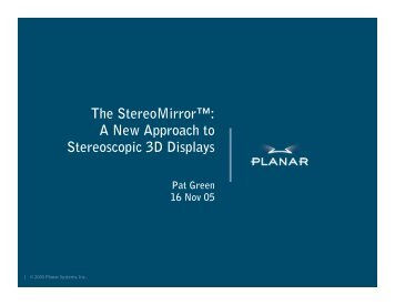 The StereoMirror™: A New Approach to Stereoscopic 3D ... - SID
