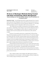 May 16, 2008: WMI Helping Create 30 Acres of Muskegon Wetlands