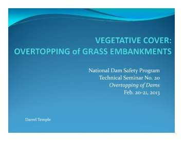 Vegetative Cover: Overtopping of Grassed Embankments