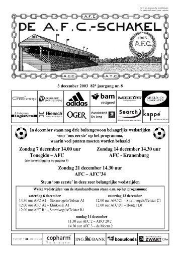 3 december 2003, 82e jaargang nummer 8 - AFC, Amsterdam