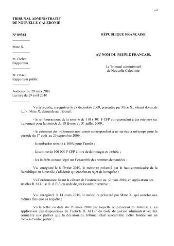TRIBUNAL ADMINISTRATIF DE NOUVELLE-CALÉDONIE N° 09382