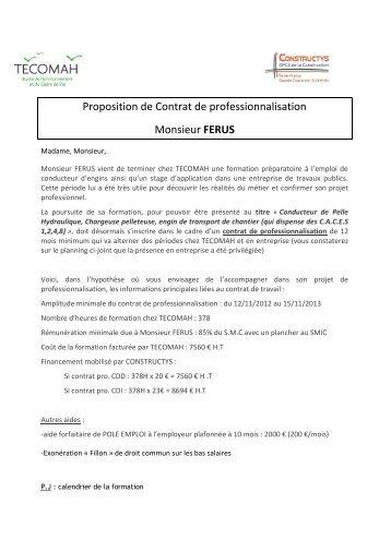 Proposition de Contrat de professionnalisation Monsieur ... - SNED