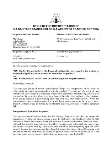 Interpretation Committee Decision 1-05 (PDF) - 3-A Sanitary ...