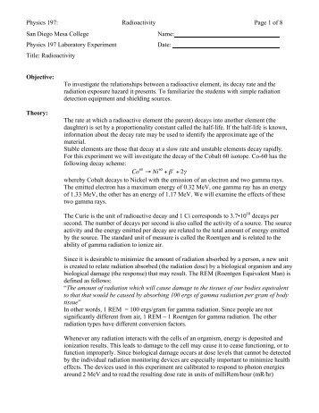 Physics 197: Radioactivity Page 1 of 8 San Diego Mesa College ...