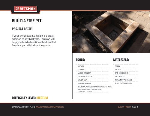 BUILD A FIRE PIT - Craftsman