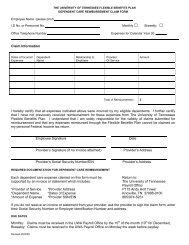 Dependent Care Reimbursement Claim Form - Payroll Office - The ...