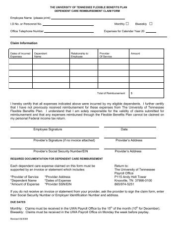 Dependent Care Reimbursement Claim Form - Payroll Office - The ...