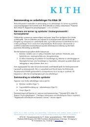 Sammendrag av anbefalinger for tiltak 39 - KITHs