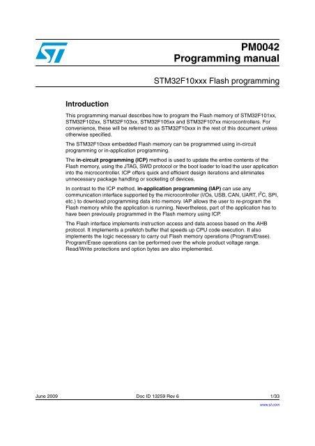 STM32F10xxx Flash programming