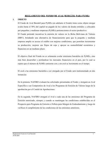 Reglamento del Fondo de Aval Bursátil para PyMEs - Banco de ...