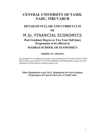 M.Sc. FINANCIAL ECONOMICS - Madras School of Economics