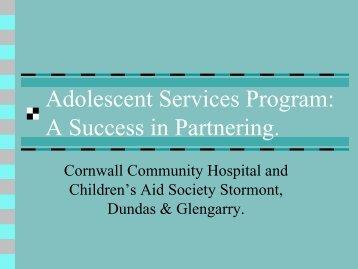 Adolescent Services Program - Children's Mental Health Ontario