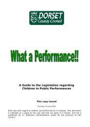 A Guide To The Legislation Regarding Children In - Dorsetforyou.com