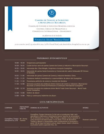 """Forumul de Afaceri """"România-China""""   Camera de Comerţ şi ... - CCIB"""