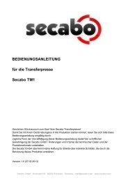 BEDIENUNGSANLEITUNG für die Transferpresse Secabo TM1