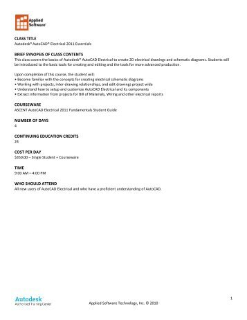 class title brief synopsis of class contents ... - Applied Software