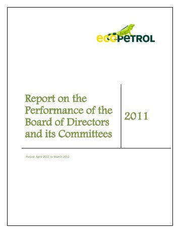 Report on the Performance of the Board of Directors and ... - Ecopetrol