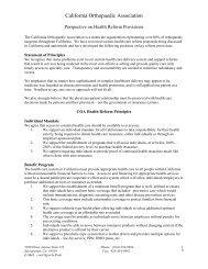 COA health reform principles - California Orthopaedic Association