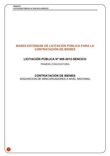 bases estándar de licitación pública para la contratación ... - Sencico