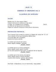 JULIO 13 DOMINGO XV ORDINARIO Año A La parábola del ...