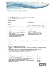 Delivery Notes - Skills for Life Improvement Programme