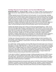 VeriSign Reports Fourth Quarter and Year-End 2002 Results