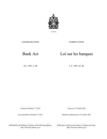 Bank Act Loi sur les banques - Intax Info