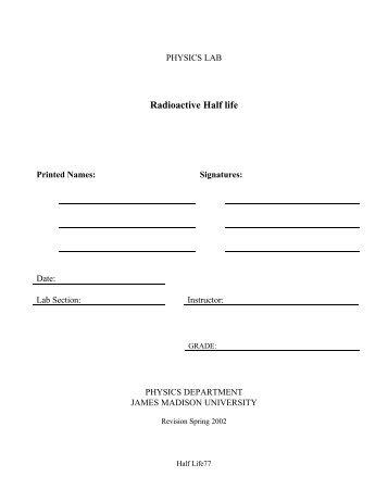 Radioactive Half life - James Madison University