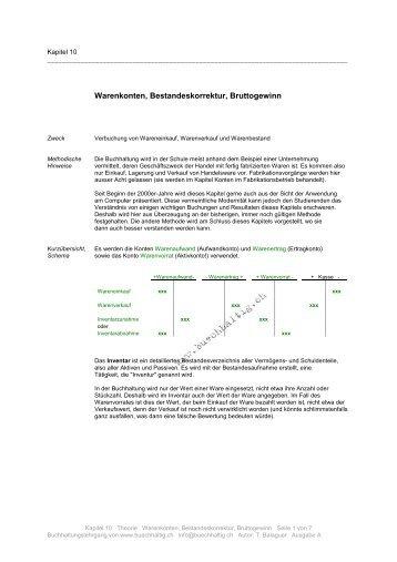 Warenkonten, Bestandeskorrektur, Bruttogewinn - stuber.info