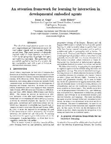An attention framework for learning by interaction in ... - LASA - EPFL