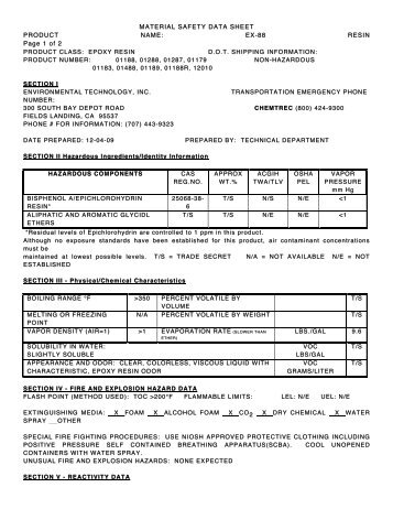 MATERIAL SAFETY DATA SHEET MATERIAL SAFETY DATA ...