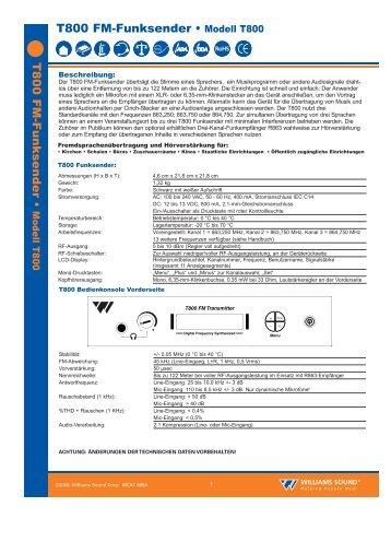 T800Spec German.qxp - Williams Sound