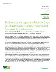 2013 Waste Management Phoenix Open Sets Sustainability and ...
