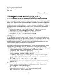 Forslag til veileder og retningslinjer for bruk av genomsekvensering ...
