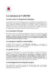 Les missions de l'ADEME - Forum des acteurs
