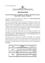 NOTIFICATION Entrance Examination for admission to ... - CEE-Kerala