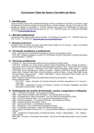 Curriculum Vitae de Amaro Carvalho da Silva - Universidade ...