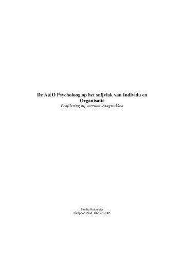 De A&O Psycholoog op het snijvlak van Individu en Organisatie - NIP