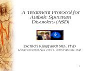 A Treatment Protocol for Autistic Spectrum Disorders (ASD)