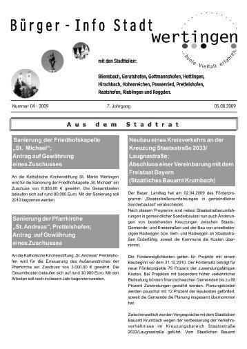 Seit 175 Jahren starker und verlässlicher Partner - Stadt Wertingen