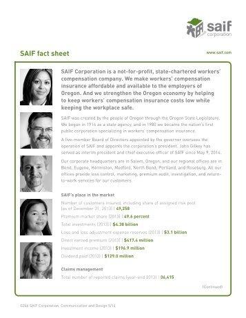 Print the SAIF fact sheet - SAIF Corporation