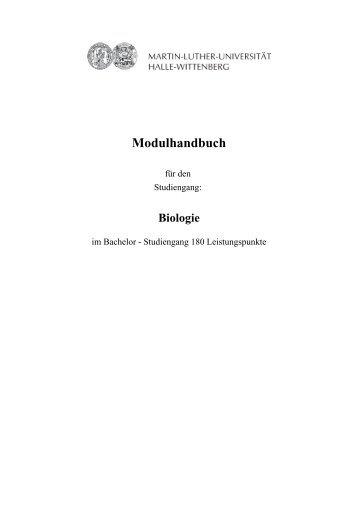 Modulhandbuch - Fachbereich Biologie der Uni Halle-Wittenberg