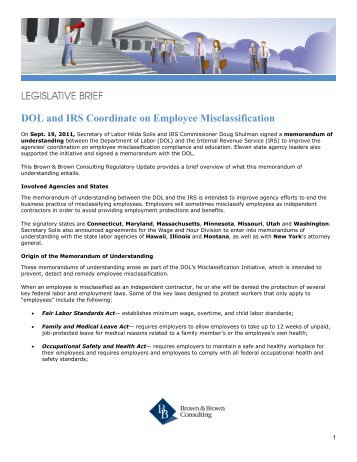 DOL and IRS Coordinate on Employee Misclassification