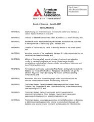 ADA Board of Directors Proclamation - American Diabetes Association
