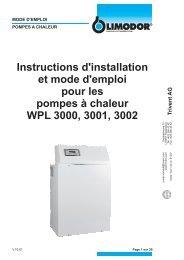 Instructions d'installation et mode d'emploi pour les ... - Trivent AG