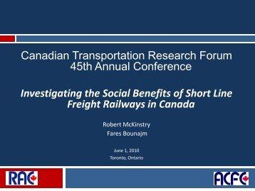 Presentation - Canadian Transportation Research Forum